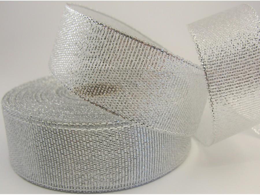 Лента парча Серебро 2,5 см х 20 м