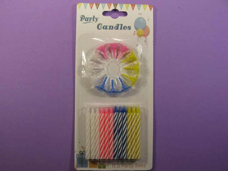 Свечи в торт 24 шт разноцветные