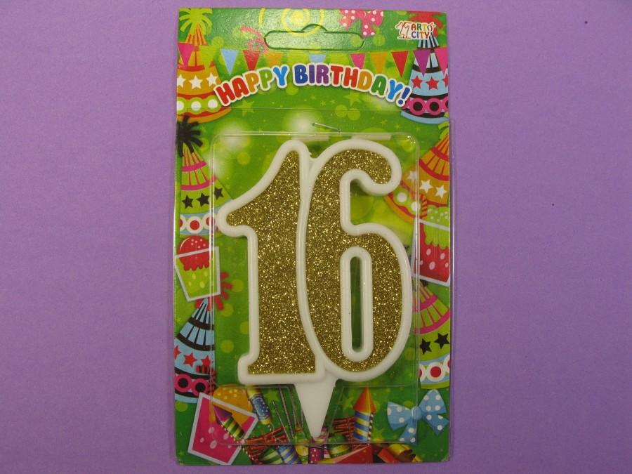 "Свеча в торт Цифра ""16"" юбилейная с золотом"