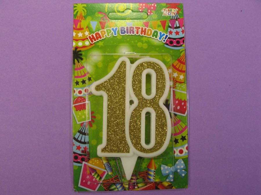 "Свеча в торт Цифра ""18"" юбилейная с золотом"