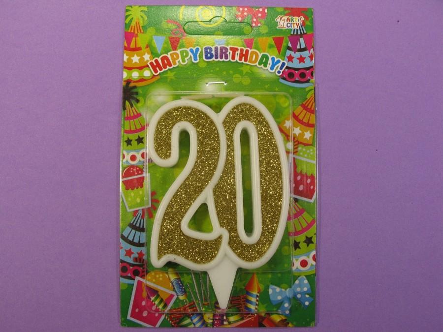 "Свеча в торт Цифра ""20"" юбилейная с золотом"