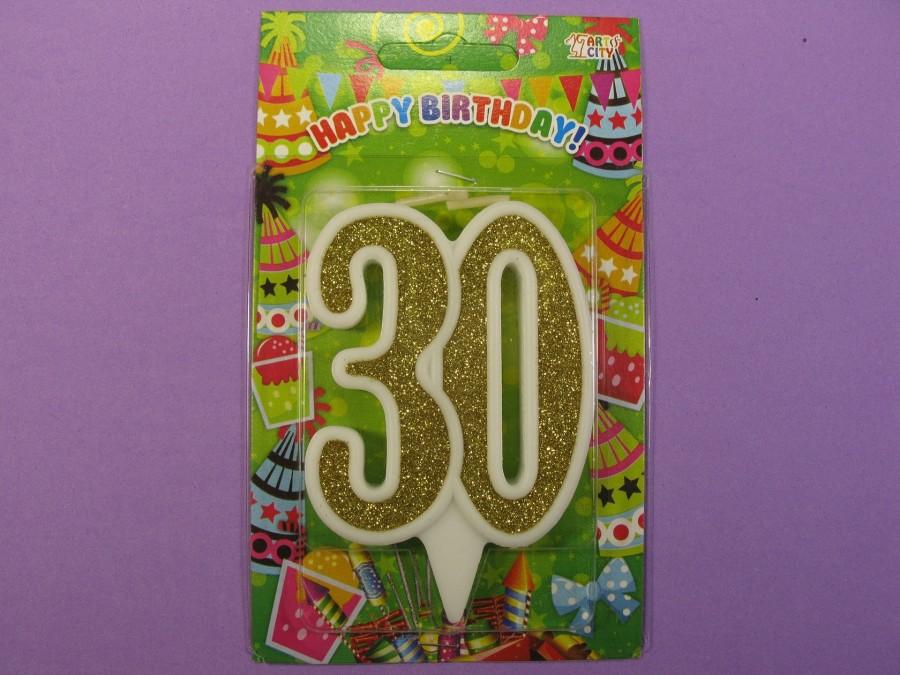"Свеча в торт Цифра ""30"" юбилейная с золотом"