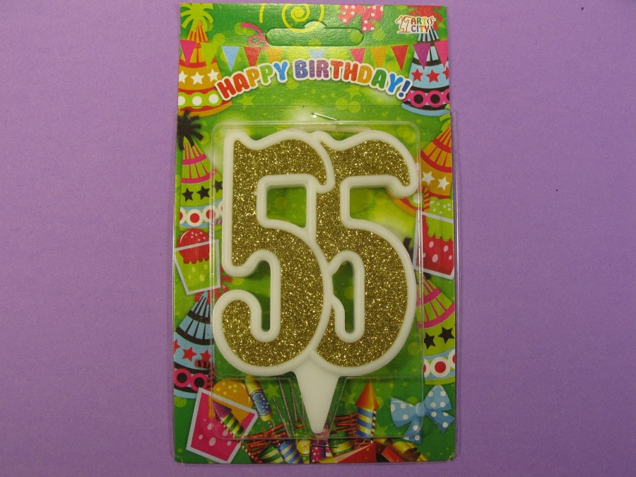 "Свеча в торт Цифра ""55"" юбилейная с золотом"