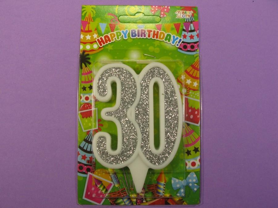 """Свеча в торт Цифра """"30"""" юбилейная с серебром"""
